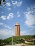 De toren van Qabus ibn Voshmgir, langste baksteentoren in de wereld, gonbad-E Qabus, Golestan-Provincie, Iran royalty-vrije stock afbeelding