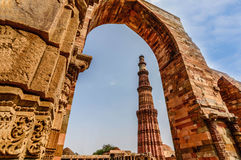De Toren van Qutubminar, Delhi Stock Foto's