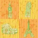 De toren van schetseifel, de toren van Pisa, Big Ben en Coliseum, vectorreeks Stock Afbeeldingen