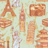 De toren van schetseiffel, de toren van Pisa, Big Ben, suitecase, photocamera royalty-vrije illustratie