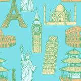 De toren van schetseiffel, de toren van Pisa, Big Ben, Taj Mahal, Coliseum, C royalty-vrije illustratie