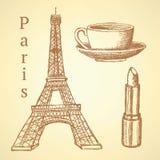 De toren van schetseiffel, lippenstift en kop, vectorachtergrond stock illustratie