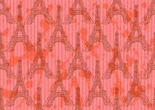 De toren van schetseiffel, vector naadloos patroon stock illustratie