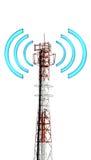 De toren van Telecomunication met grafisch signaal Stock Afbeeldingen