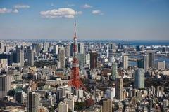 De Toren van Tokyo met horizon in Tokyo Japan stock foto's
