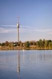De Toren van Wenen Donau bij zonsondergang Stock Afbeeldingen