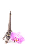 De toren withpink bloem van Eiffel Royalty-vrije Stock Foto's