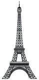 De Toren Zwart Silhouet van Eiffel Stock Foto's