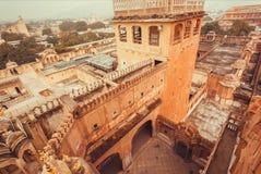 De torens en de muren van Hawa Mahal - Paleis van Winden - bouwden 1799, India in Royalty-vrije Stock Afbeelding