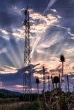 De torens van de hoogspanningsmacht Stock Fotografie