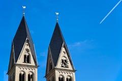 De Torens van de kerk, Koblenz, Duitsland. stock foto