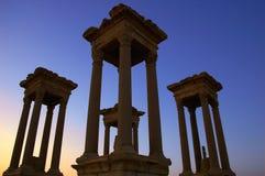 De torens van Palmyra bij schemer Stock Fotografie