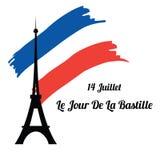 De torensilhouet van Eiffel op de achtergrond van de vlag Frankrijk Royalty-vrije Stock Afbeeldingen