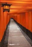 De Torii portarna på den Fushima Inari relikskrin i Kyoto Royaltyfri Foto