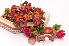 De torkade blommorna i en trävas Royaltyfri Bild