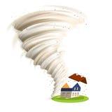 De tornado beschadigt Huis Stock Afbeelding