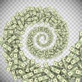 De tornado van dollarbankbiljetten, groene geldorkaan Royalty-vrije Stock Afbeeldingen