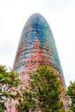 De Torre-Glori?n, vroeger als Torre Agbar in een mooi de herfstlicht worden bekend in Barcelona, Spanje dat stock afbeelding