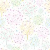De tot bloei komende achtergrond van het bomen naadloze patroon Royalty-vrije Stock Afbeeldingen