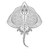 De totem van de Zentanglepijlstaartrog voor volwassen antispannings Kleurende Pagina stock illustratie