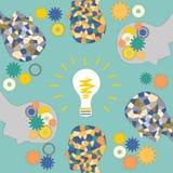 De totstandkoming van ideeën, het mozaïekhoofd van de mens, verlichting vector illustratie