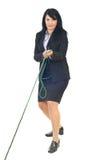 De touwtrekwedstrijd van het bedrijfsvrouwenspel Royalty-vrije Stock Afbeeldingen