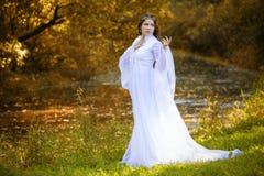 De tovenares in een lange witte kleding stock afbeeldingen