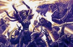 De tovenaresstrijder met een gloeiend boek doet schrikken het leger van dev stock illustratie