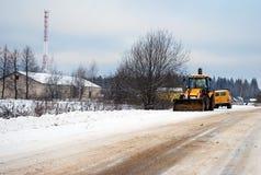 De tractor die zich op een kant van de weg bevinden Royalty-vrije Stock Fotografie