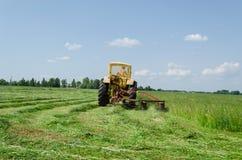 De tractor maakt scherpe draai en de bladeren snijden grasbosjes Stock Foto