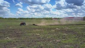 De tractor werkt op gebiedsvogels pikt korrel op zonnige dag stock videobeelden