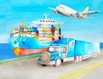 De tractorvrachtwagen die van de waterverf blauwe oplegger zich op de kust op de weg dichtbij het blauwe schip van de ladingscont royalty-vrije illustratie
