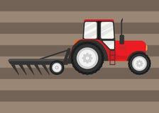 De tractorwerken op een gebied stock illustratie