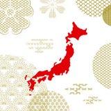 De traditionele achtergrond van Japan met de kaart van het land royalty-vrije illustratie