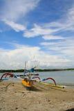 De traditionele Boot van Vissen bij de Kust in Serangan #1 Stock Foto