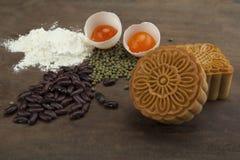 De traditionele cake van de maancake van Vietnamees - het Chinese medio voedsel van het de herfstfestival Stock Foto