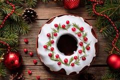 De traditionele eigengemaakte vakantie van de Kerstmiscake stock foto's