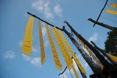 De traditionele hangende vlaggen van de lannastam in Noordelijke Thaise provincies stock afbeelding
