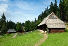 De traditionele Huizen van het Hout met Houten Dak Royalty-vrije Stock Afbeeldingen