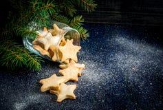 De traditionele koekjes van de Kerstmispeperkoek in kruik Stock Foto