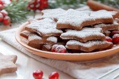 De traditionele koekjes van de Kerstmispeperkoek, sterren in gepoederde suiker op de plaat Bessen van de rode sparren van de Lijs Stock Fotografie