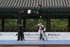 De traditionele Koreaanse Krijgs van de kunstprestaties en Ervaring Gebeurtenis toont Stock Fotografie
