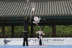 De traditionele Koreaanse Krijgs van de kunstprestaties en Ervaring Gebeurtenis toont Stock Foto's