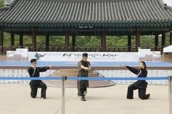 De traditionele Koreaanse Krijgs van de kunstprestaties en Ervaring Gebeurtenis toont Royalty-vrije Stock Fotografie