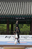 De traditionele Koreaanse Krijgs van de kunstprestaties en Ervaring Gebeurtenis toont Royalty-vrije Stock Afbeeldingen