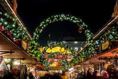 De traditionele markt van Kerstmis in Hamburg Stock Foto