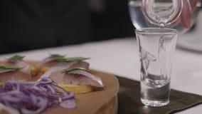 De traditionele Russische snacks zoutten haringen met groenten, ui, citroen, gele kalk, brood en schoten van wodka stock footage