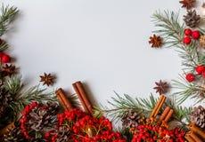 De traditionele rustieke Kerstmisachtergrond bloeit regeling royalty-vrije stock afbeeldingen