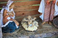 De traditionele scène van de Kerstmisgeboorte van christus stock afbeelding