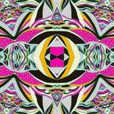 De traditionele sierbandana van Paisley Hand getrokken kleurrijk Azteeks patroon met artistiek patroon Stock Foto's